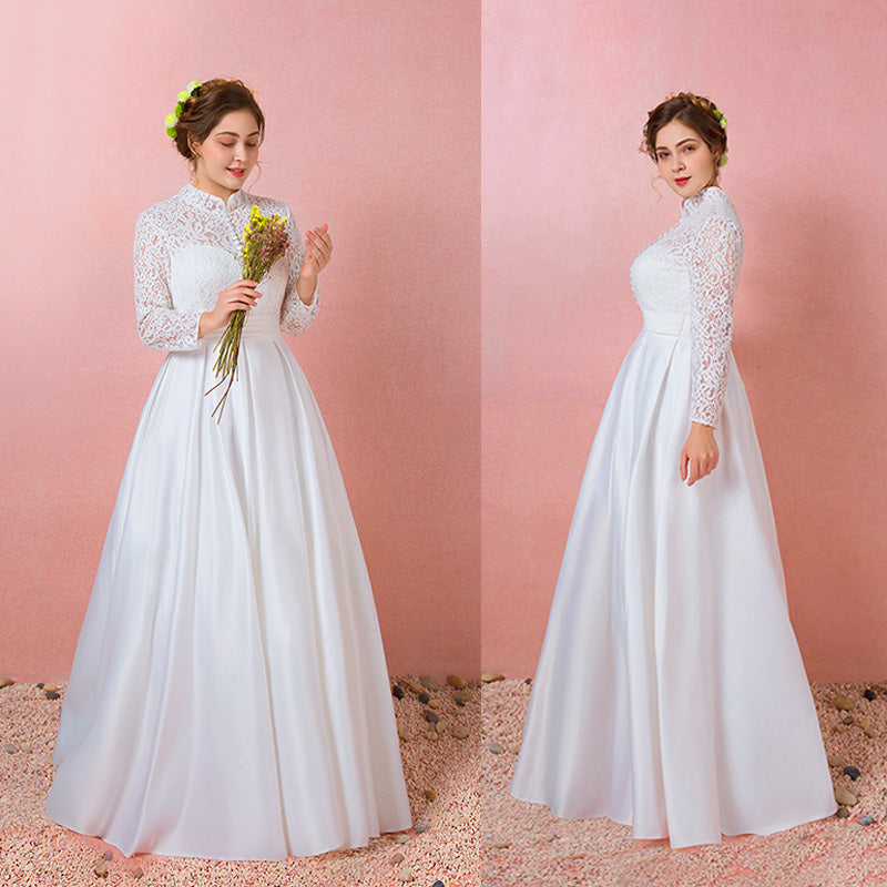[Plus Size] Vintage Stand Collar Lace Buttons Winter Bridal Dress