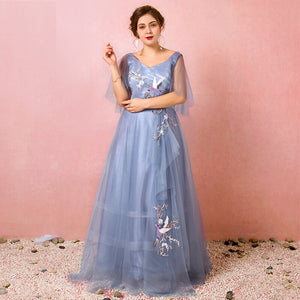 Plus Size Blue Formal Dress Nightingale Embroidery