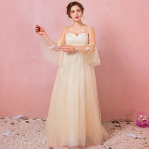 [Plus Size] Champagne Trumpet Sleeve Wedding Dresses for Brides