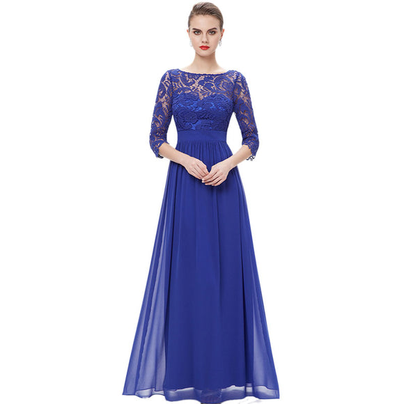 New Arrival Blue Elegant 3/4 Sleeve Lace Sexy Formal Mother Dress