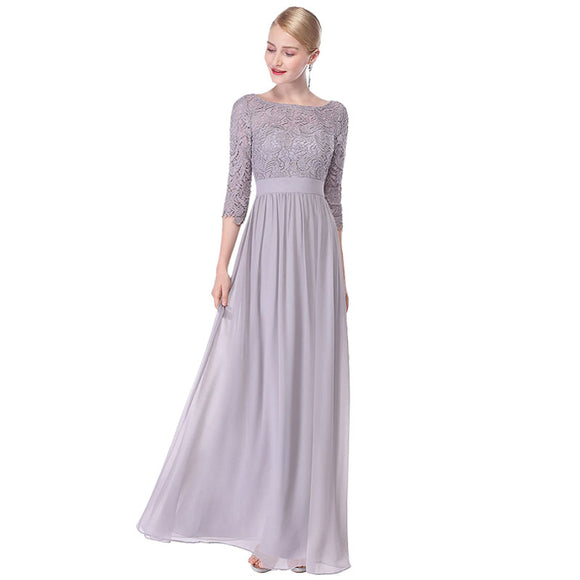 New Arrival Grey Elegant 3/4 Sleeve Lace Sexy Formal Mother Dress