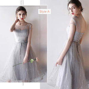 Silver Grey Sheer Sweetheart Mix Match Midi Bridesmaid Dresses