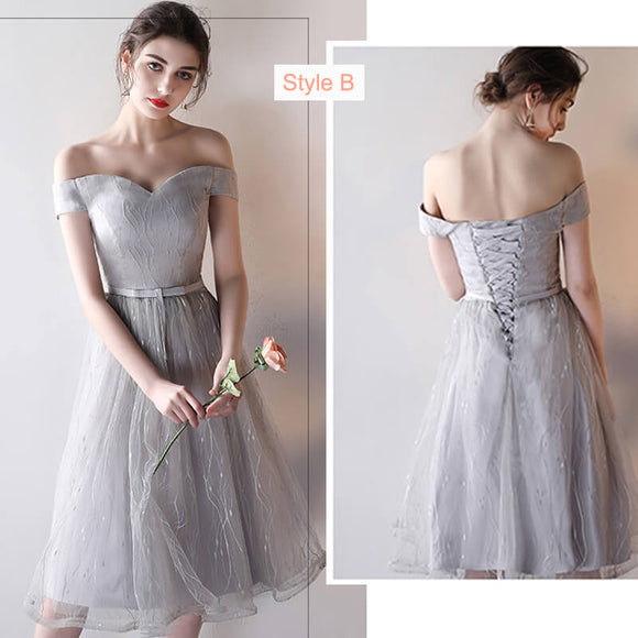 Silver Grey Slash Sweetheart Mix Match Midi Bridesmaid Dresses
