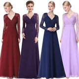 Elegant V-neck Long Sleeve Lace Plus Size Mother of the Brides Dress