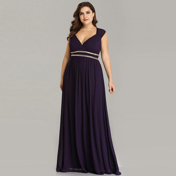 Plus Size Dark Purple Long Bridesmaid Dresses-Caily