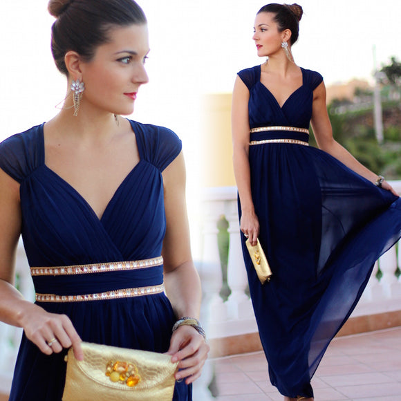 Plus Size Navy Blue Long Bridesmaid Dresses-Caily