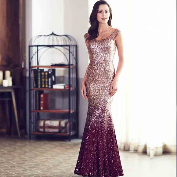 NZ Bridal Sparkle Women Elegant Sequin Mermaid Maxi Evening Party Gown