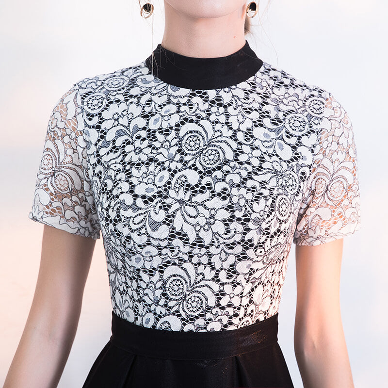 Vintage Black and White Tea Length Lace Semi Gown