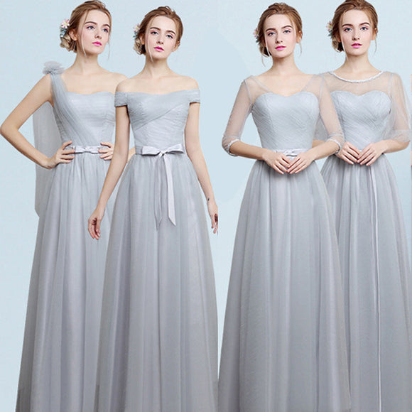 Silver Grey Long Bridesmaid Dress Gauze Mix Match Style
