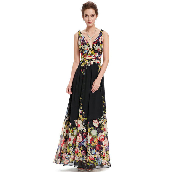 Flower Print V-neck Sexy Sleeveless Chiffon Evening Dress
