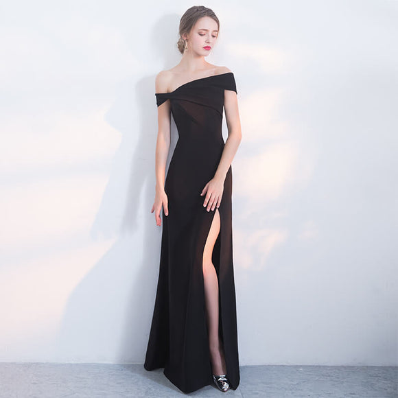 Simple One Piece Designed Slash Slit Formal Evening Wear