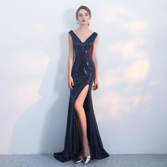 Navy Blue Plunging V Cut Sequined Evening Dress