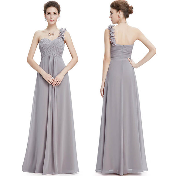Grey Flower One Shoulder Chiffon Long Wedding Bridesmaid Dresses-Jolie