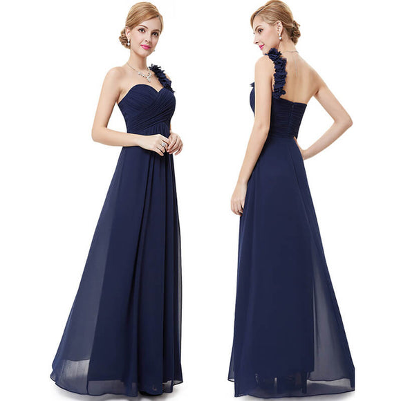 Navy Blue Flower One Shoulder Chiffon Long Mother Dresses