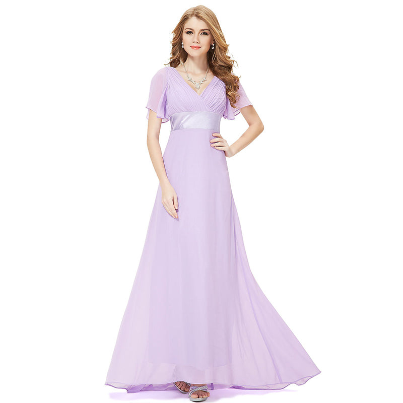 Lilac Ruffle Pleated Bridesmaid Dresses-Mei