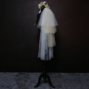 Multi Layers Gradient White & Champagne Tulle Wedding Bridal Veil