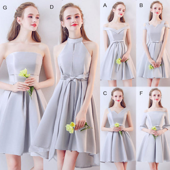 Mix Match Noble Satin A Line Short Bridesmaid Dresses