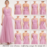 Dusty Rose Multi Ways Wrapping Convertible Bridesmaid Dress Strapless Sweetheart Tulle A-line Gown For Bridesmaid Party-Alice