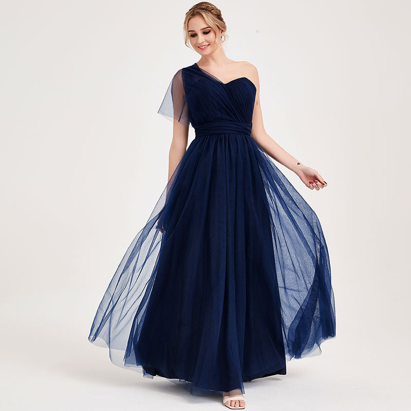 Navy Blue Multi Ways Wrapping Convertible Bridesmaid Dress Strapless Sweetheart Tulle A-line Gown For Bridesmaid Party-Alice