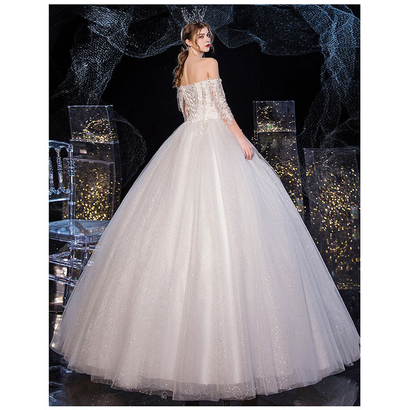 Off Shoulder Tessals Tulle Overlay Wedding Gown