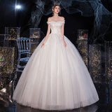 Cold Shoulder Organza Tulle Overlay Wedding Gown