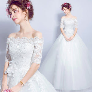 Fantastic Off the Shoulder Lace Appliqués Wedding Reception Dress