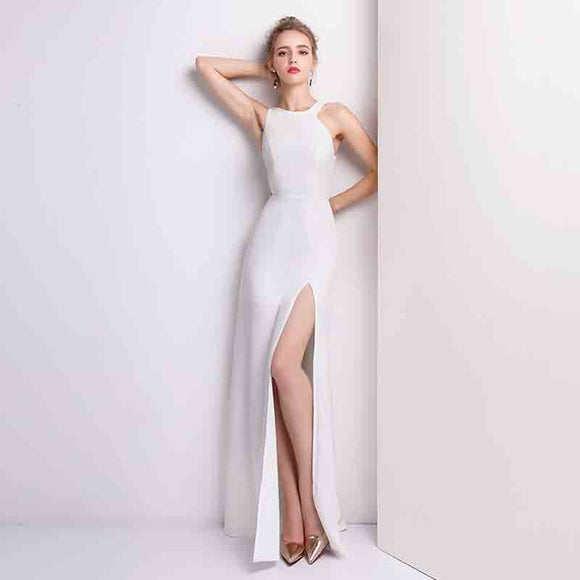 White Cut Out Asymmetrical Neck Halter Slim Semi Prom Dress