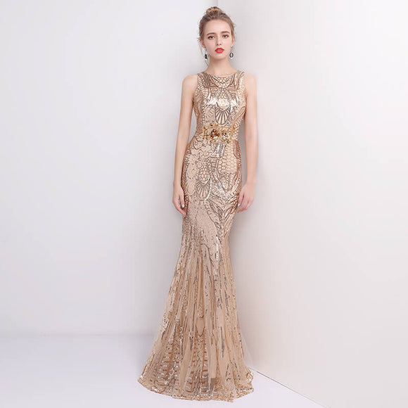 Champagne Sleeveless Sequins Formal Event Evening Dress