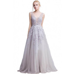 Double V-neck Tulle Appliques Long Evening Cocktail Gown