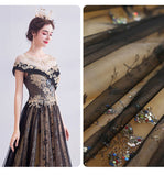 Black Gold Tulle Cascade Beading Embroidery A-line Ball Gown