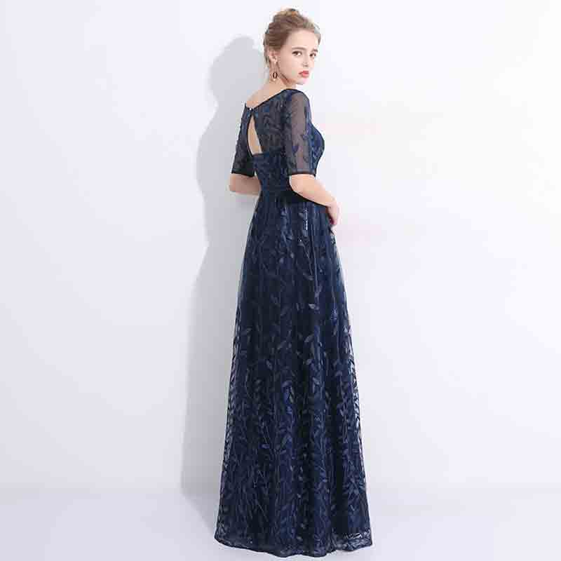 Fantastic Navy Blue Sequined Embroidery Floral Mother of the Bride Dress