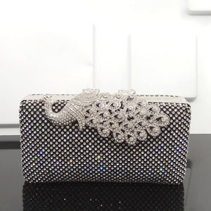 Unique Shinning Peacock Evening Clutches with Rhinestones