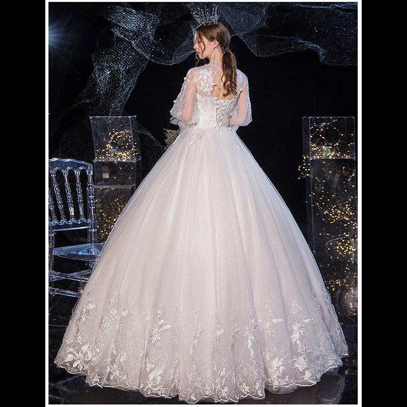 White Lace Flower High Collar Trumpet Sleeves Wedding Gown