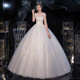 White Lace Flower V Cutting Sleeveless Wedding Gown
