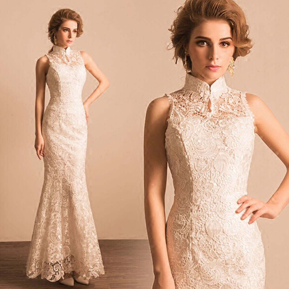 Vintage Sheer Neck High Collar Mermaid Lace Wedding Dress for Brides