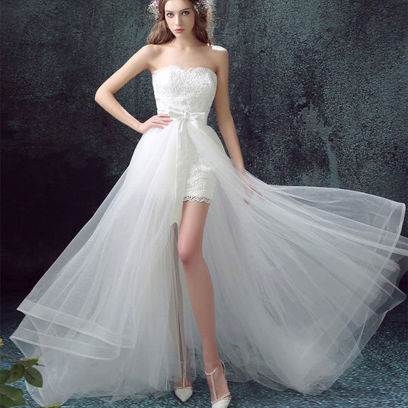 2 IN 1 Simple Detachable Travel Wedding Dress