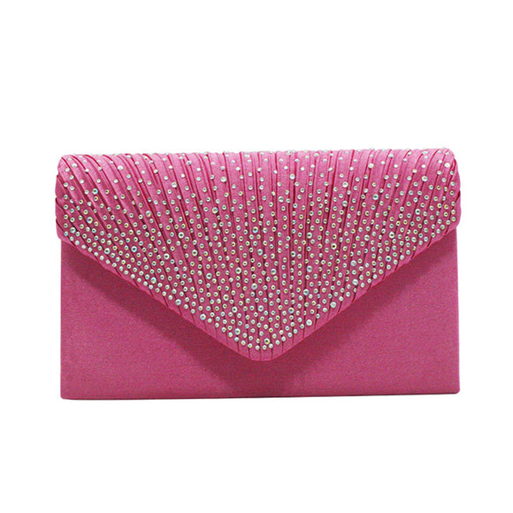 Satin Evening Handbag Clutch with Rhinestone