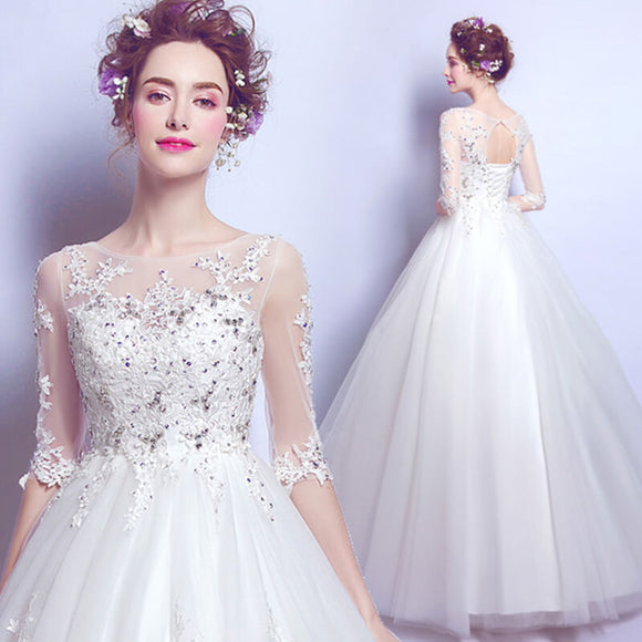 Empire Waist Sheer Sleeves Half Sleeves Tulle Bridal Ball Gown