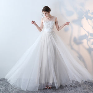 Romantic Lace Tulle Beach Wedding Dress for Brides