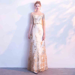 Luxury White Lined Gold Overlace A Line Grace Long Evening Formal Dress