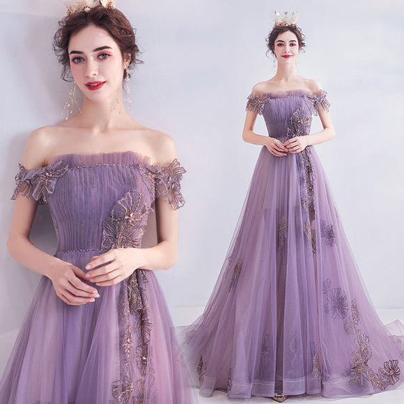 Petal Purple Off The Shoulder Beading Floral Applique Gown