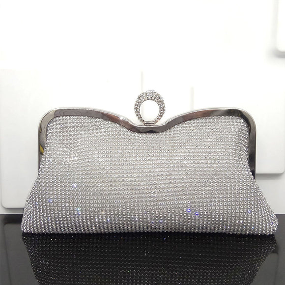 Fabulous Silver Evening Handbag Clutch with Rhinestone