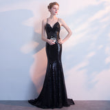 NzBridal Black Spaghetti Straps Sparkling Evening Night Dress