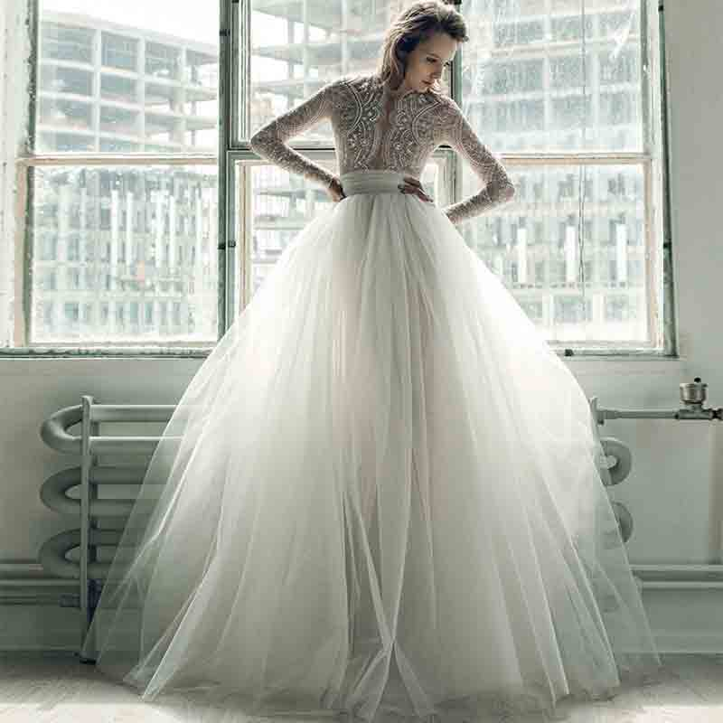 Fantastic Illusion Bodice Pearls Lush Lace Wedding Gown