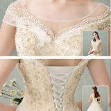 Champagne Slash Neck Lace A-Line Wedding Gown with Train