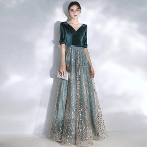 NZ Bridal Winter Suit Collar V-neckline Half Sleeve Blue Velvet Sequin Beadiang Tulle Ball Gown