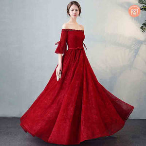 Vintage Palace Style Cold Shoulder Flared Sleeves Ball Gown