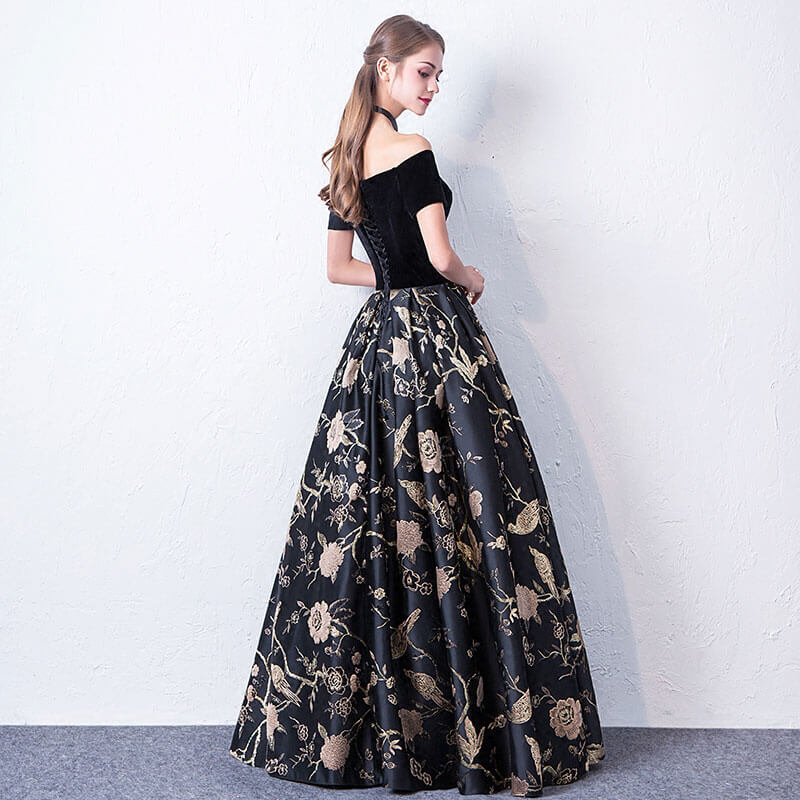 Fantastic Slash Neck Velvet Printed Prom Gala Dresses