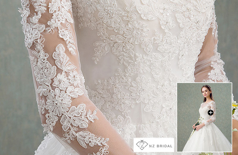 Delicate Lace Tulle Cut Out Back Wedding Gown