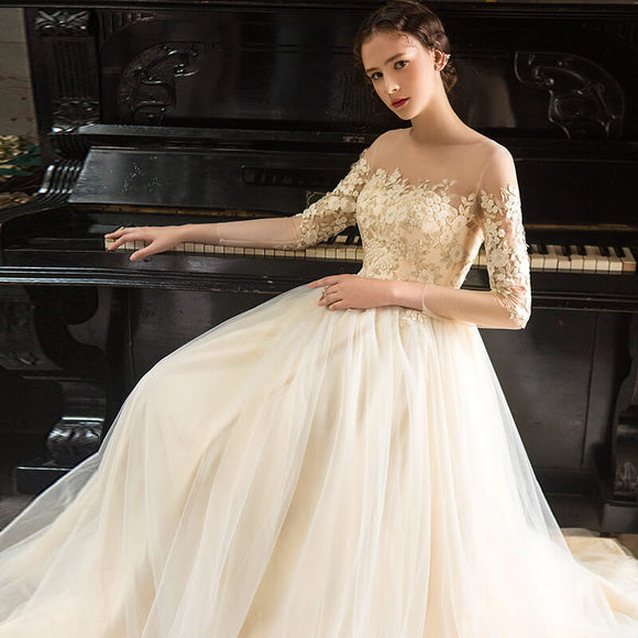 Illusion Neck Ruffles Embroidery A Line Bridal Wedding Gown